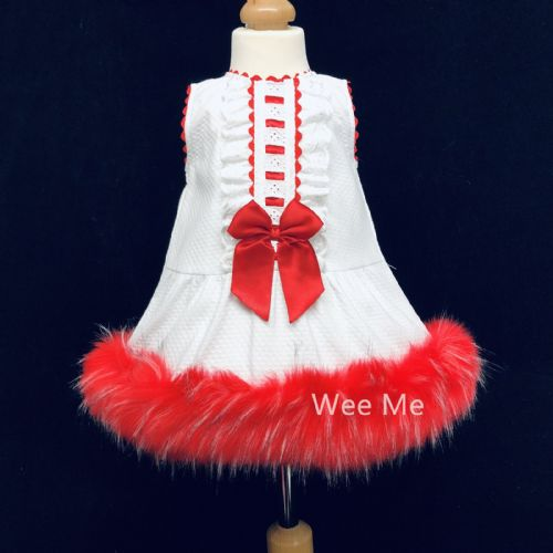 Gorgeous Baby Girl White Spanish Fur Bottom Dress Red Fur